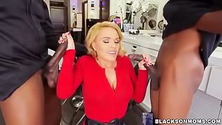 Short-haired blonde fucks BBCs