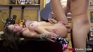 Inked beauty fucked by pawn shop dude