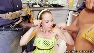 Horny housewife bangs two BBCs