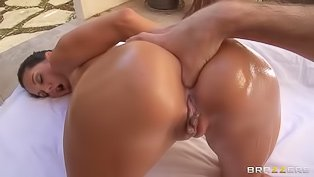 Tanned brunet gets ass-banged