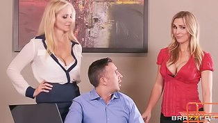 Sexy blondes fucking in the office