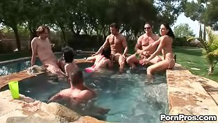Poolside orgy in HD quality