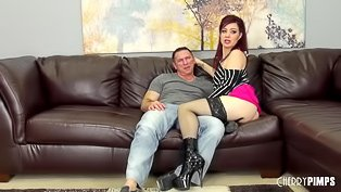 Redhead gets banged on a couch