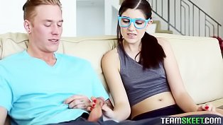 Hipster teen fucks her tutor
