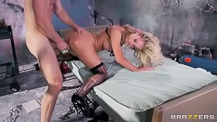 Mad scientist blonde wants that cock