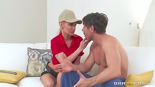 Busty blonde rides a hot cock