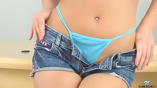 Denim shorts hottie shows off