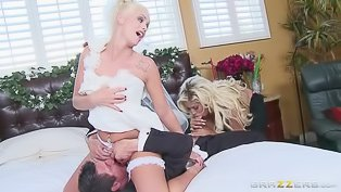 Bride in a wild FFM threesome