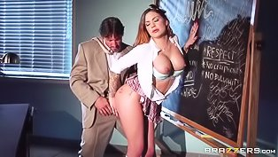 Schoolgirl fucking her shredded teacher