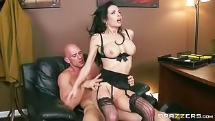 Dark-haired brunette fucked on the job