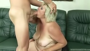 Fat grandma gets fucked by a youngster